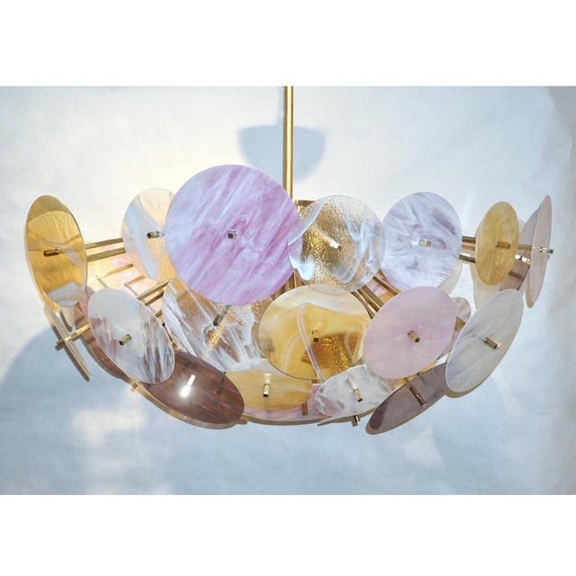 Contemporary Italian Yellow White Rose Pink Murano Glass Oval Sputnik Flushmount For Sale - Image 4 of 11