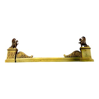 19th C. French Cast Brass & Bronze Fireplace Fender With Griffins For Sale