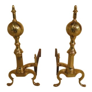 Traditional Style Brass Fireplace Andirons - a Pair For Sale
