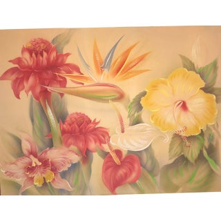 1950s Botanical Hawaii Airbrush Painting by Tip Freeman For Sale