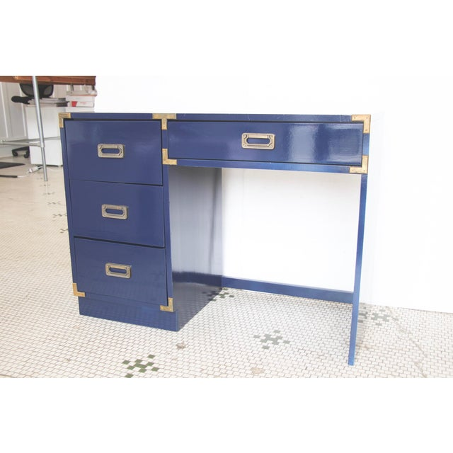 Navy Campaign-Style Desk - Image 3 of 7