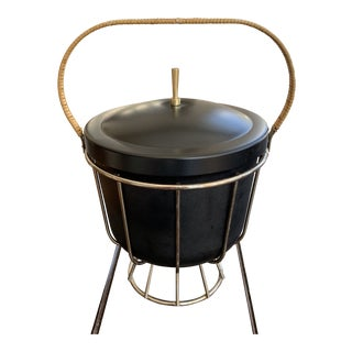 Vintage Black Ice Bucket With Chrome Casing and Natural Raffia Woven Handle For Sale
