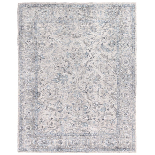 Exquisite Rugs Biron Handmade Wool & Viscose Beige & Blue - 8'x10' For Sale - Image 9 of 9