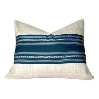 Blue and White Striped Japanese Silk Kaku Obi Pillow Cover For Sale