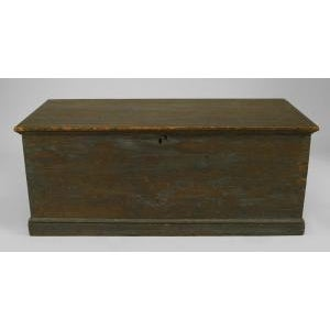 American Country (18/19th Cent) blue painted pine blanket chest/floor trunk