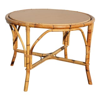 Vintage Mid Century Modern Bamboo Rattan Tan Dining Table, Reversible Card Table For Sale