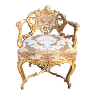 19th Century Italian Carved Giltwood Barrel Chair For Sale