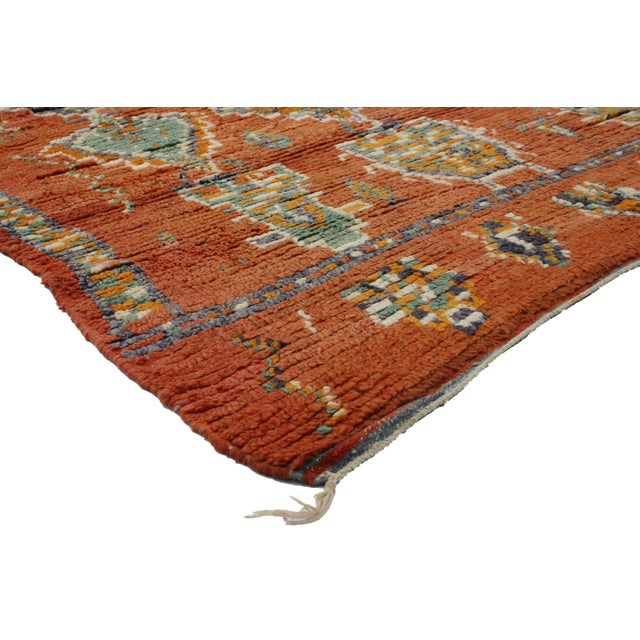 20247 Vintage Berber Moroccan Rug with Tribal Postmodern Style 04'11 x 05'04. This hand knotted wool vintage Berber...