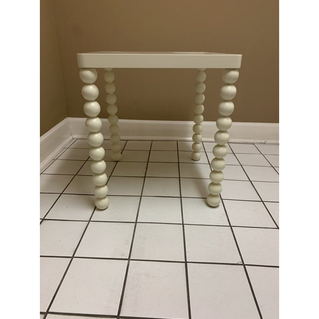 Boho Chic 1970's Boho Chic Off-White Wood Side Table For Sale - Image 3 of 11