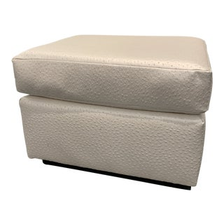Custom Made Faux Ostrich Leather Ottoman For Sale