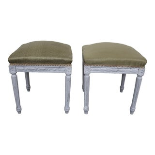19th Century French Louis XVI Ottomans - A Pair For Sale