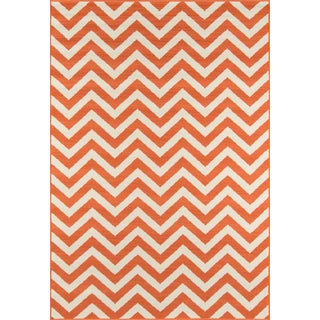 "Momeni Baja Orange Indoor/Outdoor Rug - 6'7"" X 9'6"" For Sale"