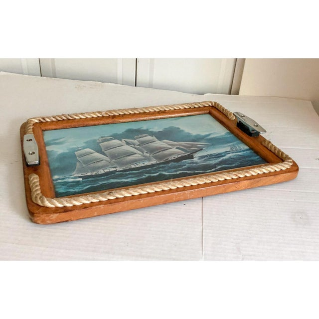 Coastal Nautical Serving Tray With Cleat Handles Barware For Sale - Image 3 of 7