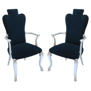 Silver Leaf Blue Velvet Upholstery Armchairs - a Pair For Sale