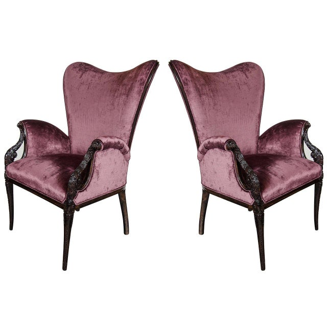 Wood Pair of 1940s Wingback Chairs in Smoked Amethyst Velvet by Grosfeld House For Sale - Image 7 of 7