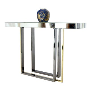 Modern Striped Mirror Tiles Top Console Smoked Chrome and Brass Legs For Sale