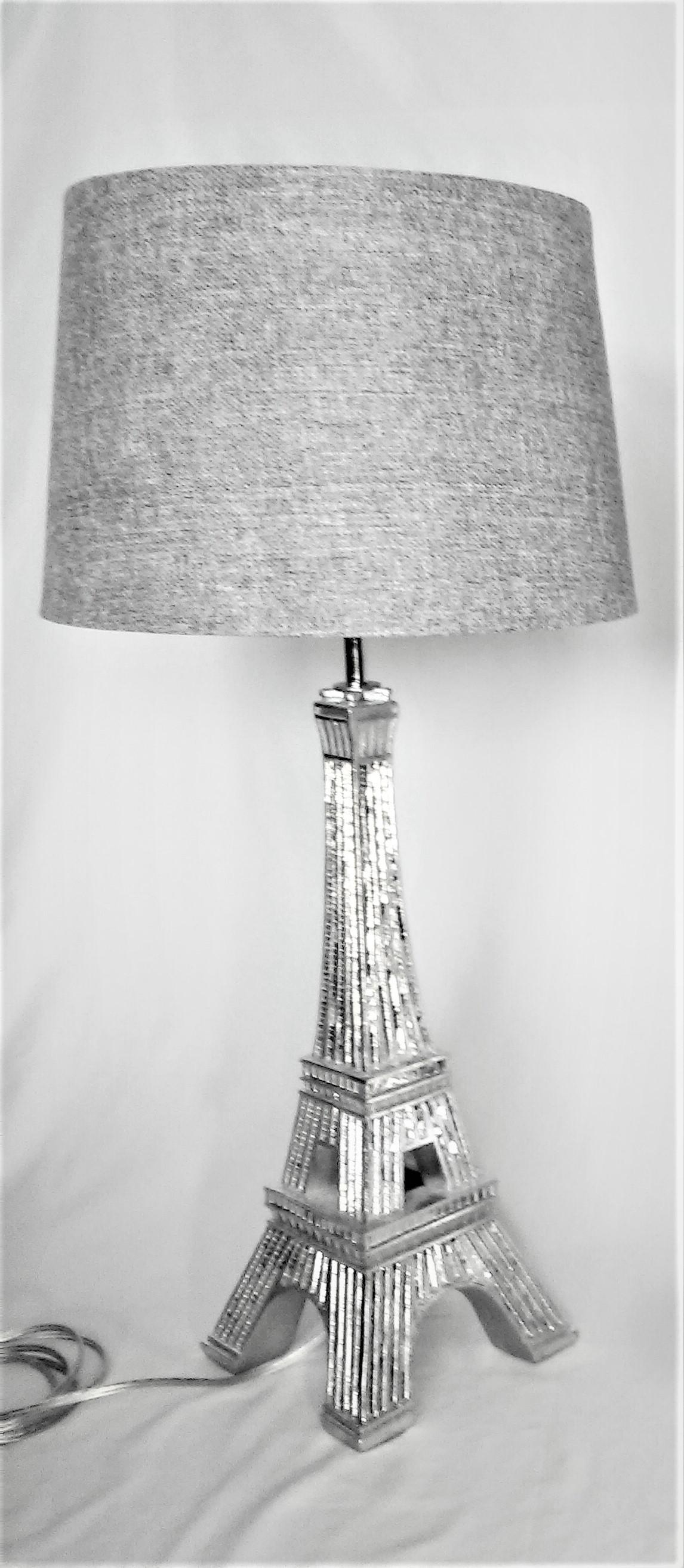 Silver Mirrored Eiffel Tower Table Lamp With Shade