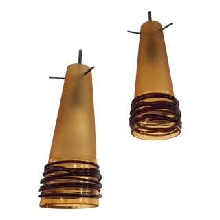 Oggetti Luce Hand Blown Glass Pendant Lights - A Pair