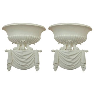 Pair of Dorothy Draper Style Plaster Wall Sconces For Sale