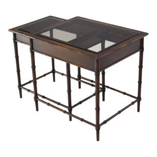 Faux Bamboo Nesting Side Tables For Sale