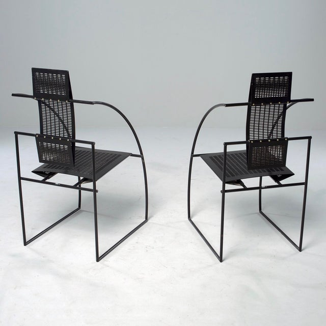 Black Set of Eight Alias Italian Mario Botta Quinta Op Art Chairs For Sale - Image 8 of 13