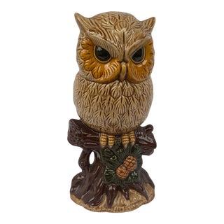 Mid-Century Handmade Ceramic Owl Figurine For Sale