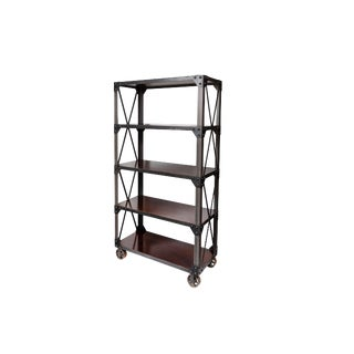 Custom Made Industrial Iron and Walnut Shelving Unit For Sale