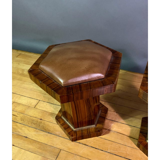 Pair Hexagonal Rosewood and Brass Stool, France 1960s For Sale In New York - Image 6 of 11