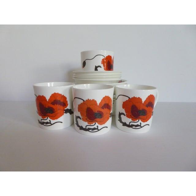 "1980s Susie Cooper for Wedgewood ""Corn Poppy"" Luncheon Sets - Set of 17 For Sale - Image 5 of 9"