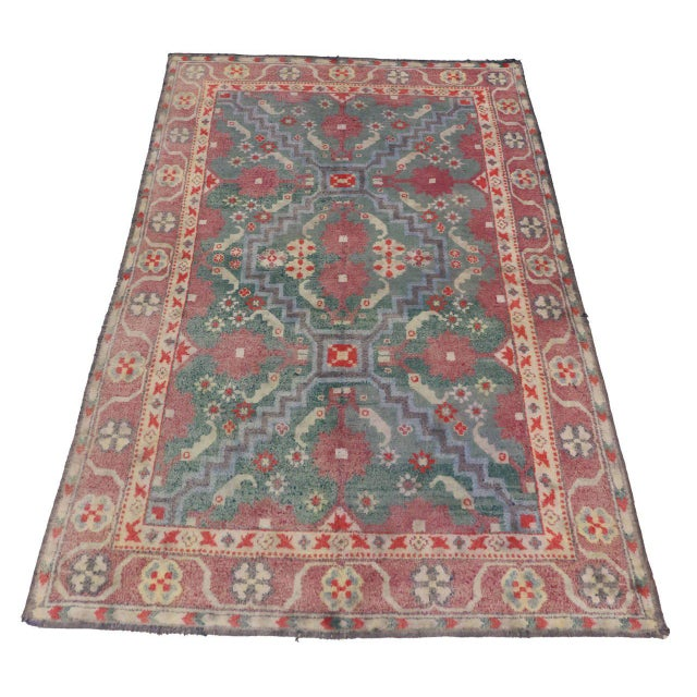 Arts And Crafts Rugs With Exciting Indian Agra Rug Design: Antique Indian Cotton Agra Rug