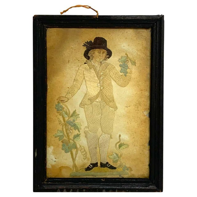 Beige Early 20th Century Framed Two Sided English Silk Embroideries of Regency Twins For Sale - Image 8 of 8