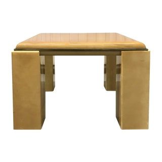 1970s Lacquered Goatskin Brass Edged Trim Square Side Table For Sale