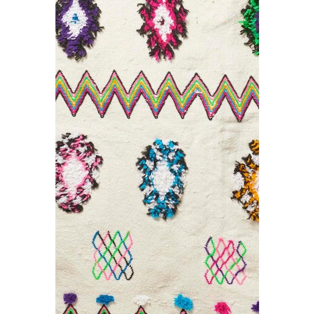 White & Multicolor Moroccan Blanket - Image 4 of 4