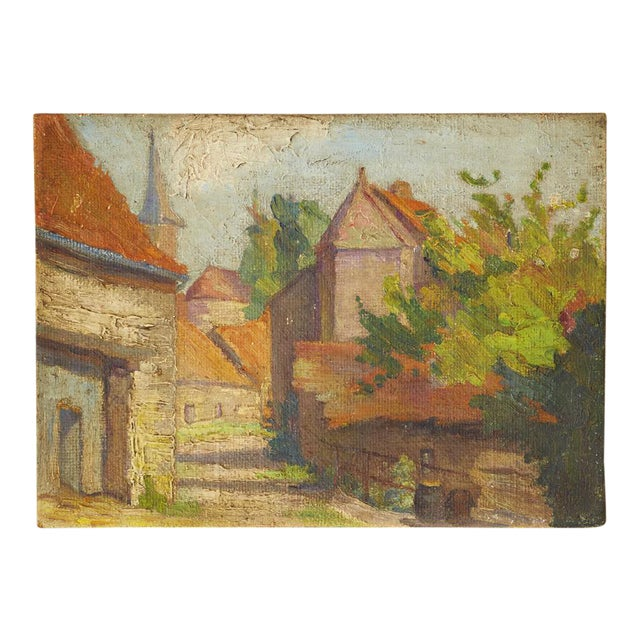 Mid-Century French Village Impressionist Painting - Image 1 of 6