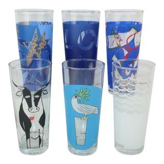 Ritzenhoff Post Modern Designer Milk Glasses, Set 6 For Sale