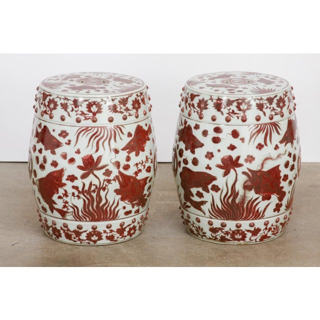 Ceramic Chinese Ceramic Aquatic Life Garden Stools or Drink Tables - a Pair For Sale - Image 7 of 13