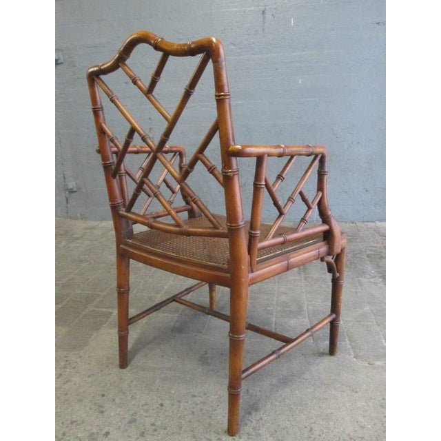 1960s Pair of Chinese Faux Bamboo Chippendale Style Armchairs For Sale - Image 5 of 7