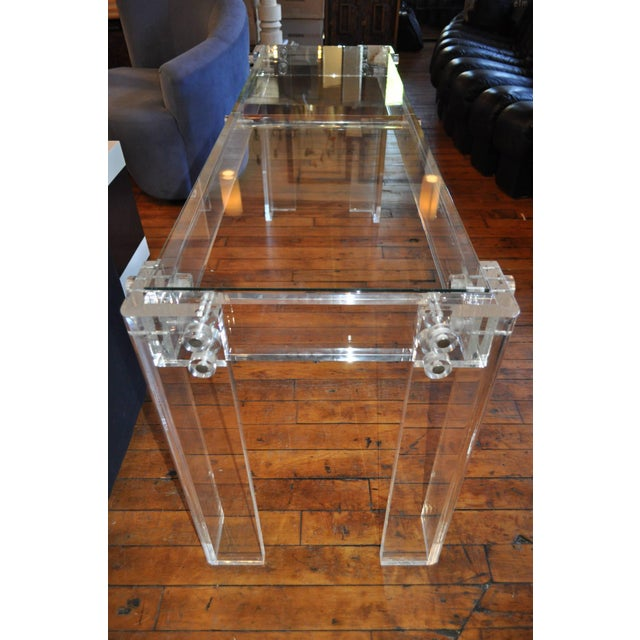 Charles Hollis Jones Charles Hollis Jones Style Mid Century Modern Lucite and Glass Console Table For Sale - Image 4 of 6