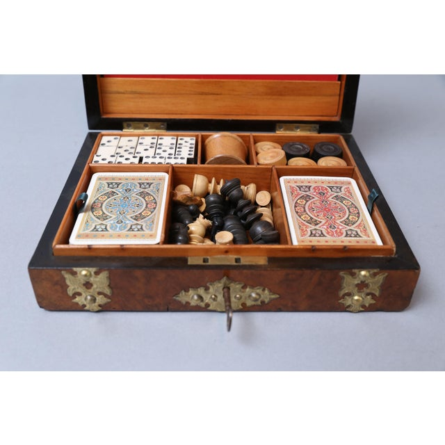 English Traditional Antique English Games Compendium, Lock & Key For Sale - Image 3 of 9