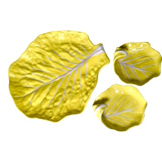 Vintage Secla Portugal Yellow Cabbage Leaf Majolica Platter and 2 Curled Serving Dishes For Sale