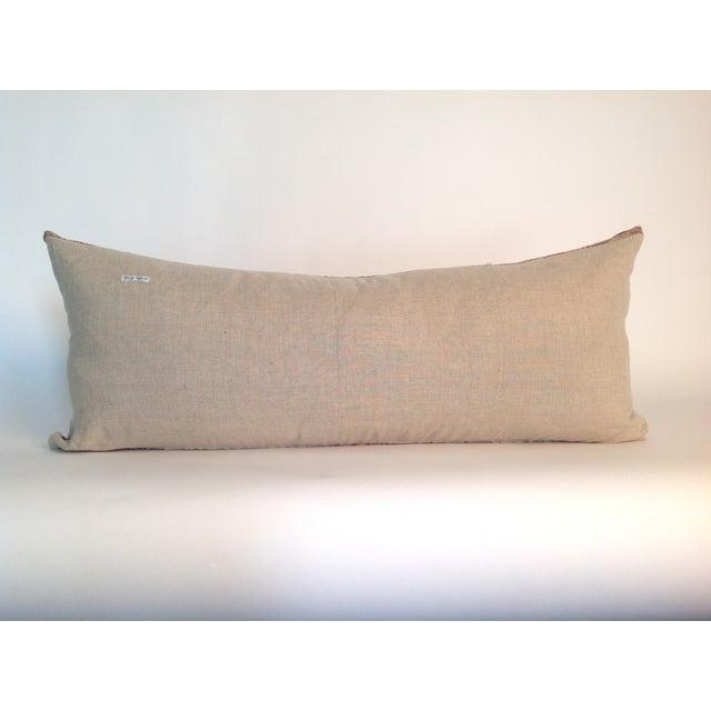 Boho Chic Vintage Block Printed Pink Kantha Quilt Pillow For Sale - Image 3 of 3