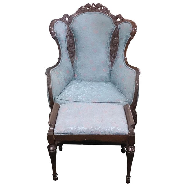 Wingback Victorian Chair and Ottoman - Image 1 of 5