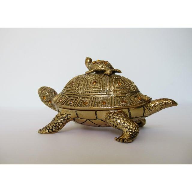 1990s Greek Key Gilt Brass Bejeweled Turtle Lidded Keepsake Box, Letter Opener & Magnifier Set in One - 3 Pieces For Sale - Image 5 of 13