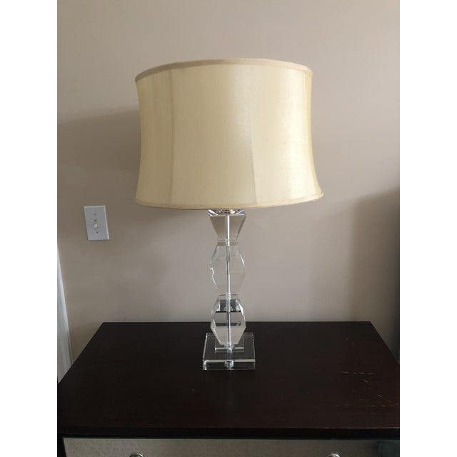 Ethan Allen Ethan Allen Geometric Crystal Table Lamps With Shade For Sale - Image 4 of 4