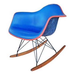 Upholstered Eames Rocking Chair (Rar) D.1950 For Sale