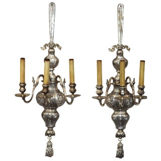 Large Pair E. F. Caldwell Silvered Three-Arm Sconces For Sale