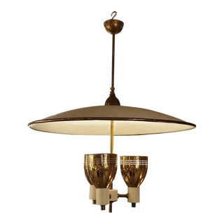 1950s Mid-Century Modern Brass & Enamel Chandelier by E Wormley for Lightolier, Usa For Sale