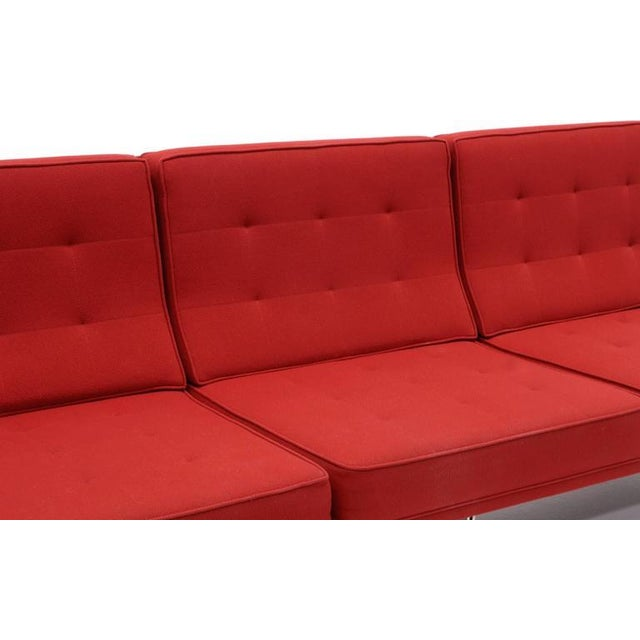 1950s Florence Knoll Parallel Bar Three-Seat Armless Sofa Red Wool Fabric For Sale - Image 5 of 8