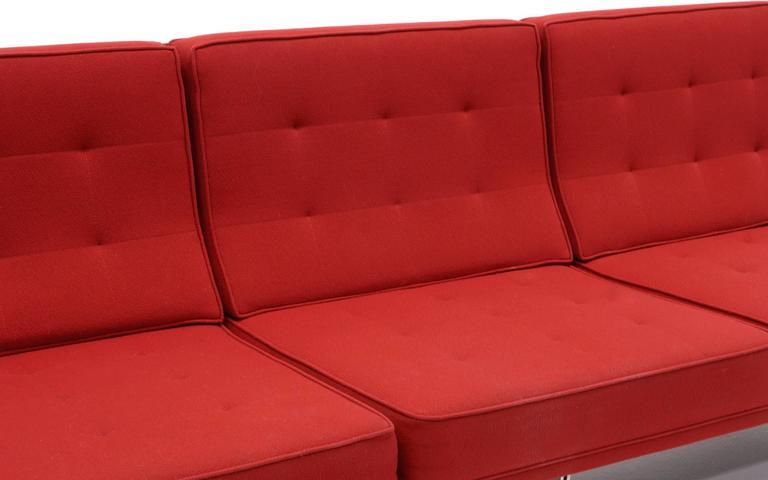 Florence Knoll Parallel Bar Three Seat Armless Sofa Red Wool Fabric   Image  5 Of