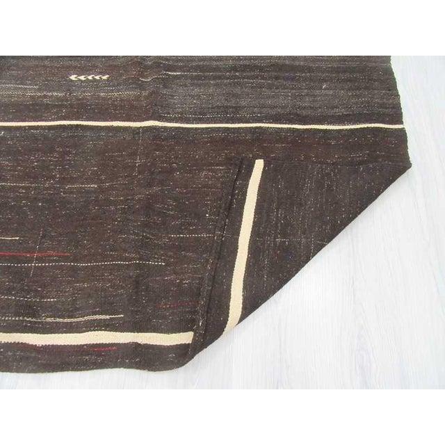 Vintage Turkish White Striped Black Goat Hair Kilim Rug - 5′2″ × 8′3″ For Sale - Image 5 of 6